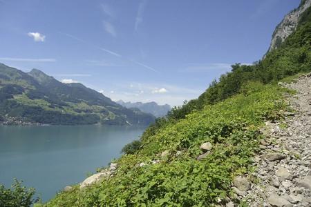 Camping Pradafenz empfiehlt Schiffsfahrt von Walenstadt nach Quinten, dem autofreien Ort am Walensee, mit dem berühmten, südlich-milden Klima