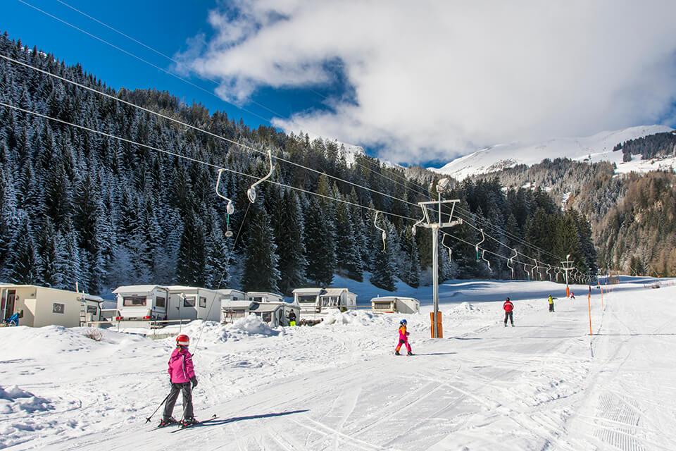 Skilift Pradafenz, Camping Pradafenz, Campingplatz, Churwalden, Graubünden, Schweiz